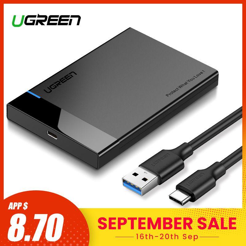 Ugreen boîtier HDD 2.5 SATA à USB 3.0 adaptateur boîtier de disque dur pour disque SSD boîtier HDD Type C 3.1 boîtier HD boîtier HDD externe