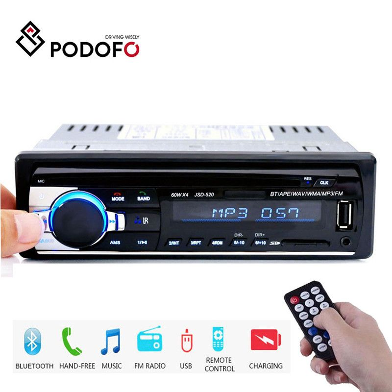 Podofo 1DIN In-Dash Car Radios Stereo Remote Control Digital Bluetooth Audio Music Stereo 12V Car Radio Mp3 Player USB/SD/AUX-IN