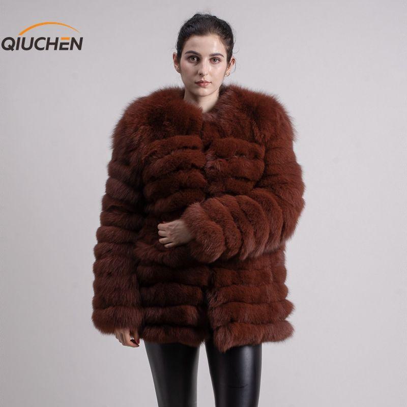 QIUCHEN PJ1823 FREIES VERSCHIFFEN frauen echt fox pelzmantel echten fuchs outwear flauschigen fell herbst und winter wholsale neue ankunft