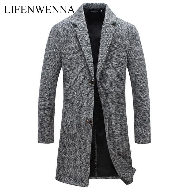 Automne hiver nouvelle marque de mode hommes vêtements tendance veste laine manteau hommes Slim Fit caban laine & mélanges hiver Long hommes manteau 5XL
