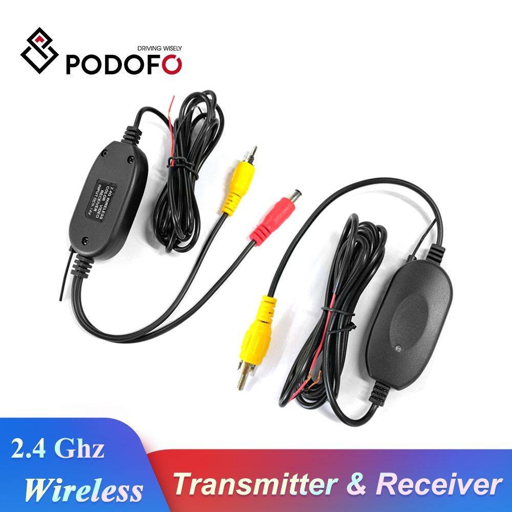 Podofo 2.4 Ghz Wireless Rear View Camera RCA Video Transmitter & Receiver Kit for Car Rearview Monitor FM Transmitter & Receiver