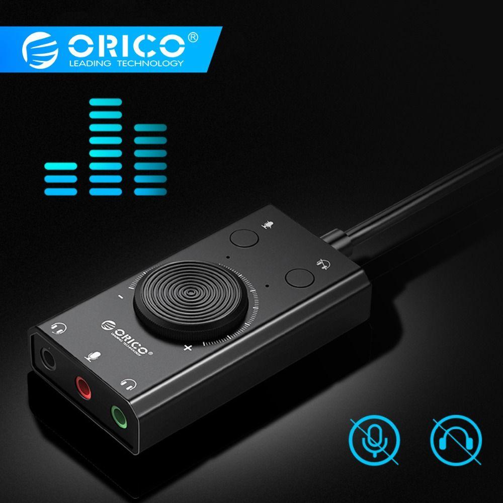 ORICO Portable USB externe carte son micro écouteur deux-en-un avec 3 ports Volume de sortie réglable pour Windows/Mac/Linux