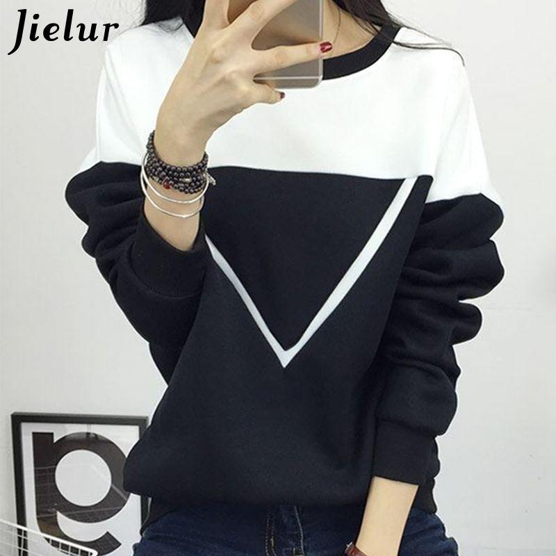 2019 hiver nouvelle mode noir et blanc sort couleur vestes à capuche patchwork femmes V motif pull sweat femme survêtement M-XXL
