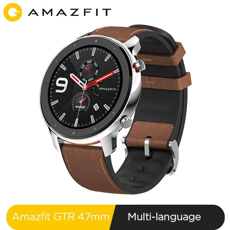 Version mondiale Amazfit GTR 47mm montre intelligente 5ATM étanche Smartwatch 24 jours batterie contrôle de la musique bracelet en silicone en cuir
