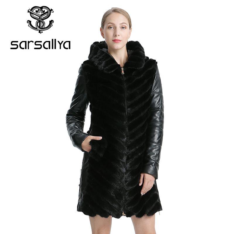 SARSALLYA Natürliche Nerz Mantel Jacke frau Winter Jacken Abnehmbare Leder Echt Pelzmantel Frauen Kleidung Mantel Weibliche