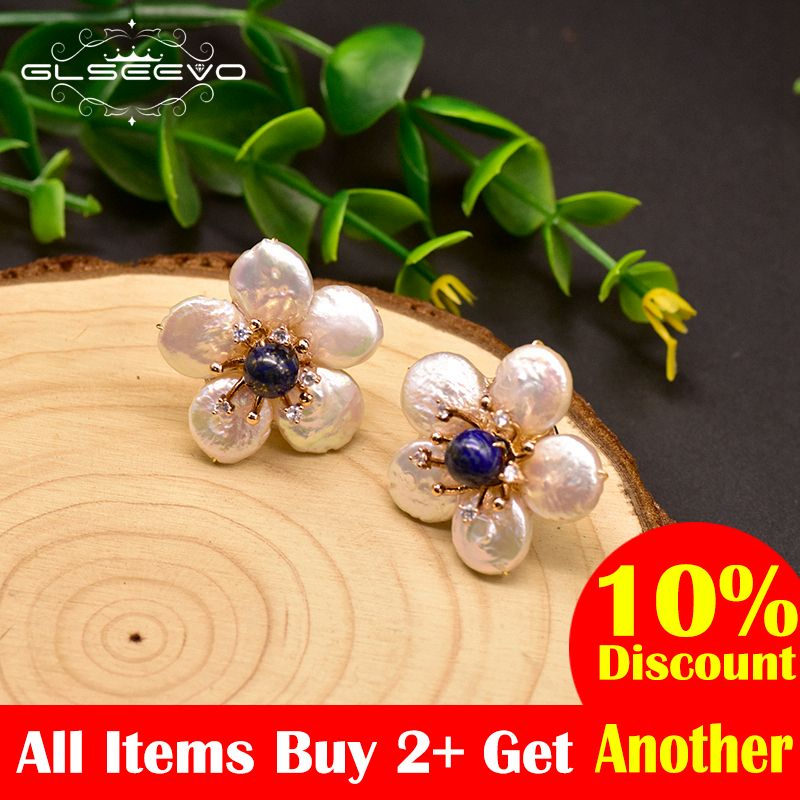 GLSEEVO Natural Fresh Water Baroque Pearl Lapis Lazuli Flower 925 Sterling Silver Stud Earring For Women Fine Jewellery GE0598