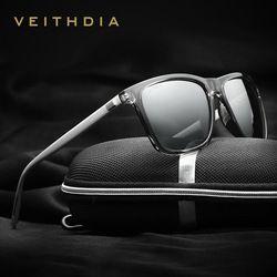 Veithdia Merek Adapula Retro Aluminium + TR90 Kacamata Terpolarisasi Lensa Vintage Eyewear Aksesoris Berjemur Kacamata untuk Pria/Wanita 6108