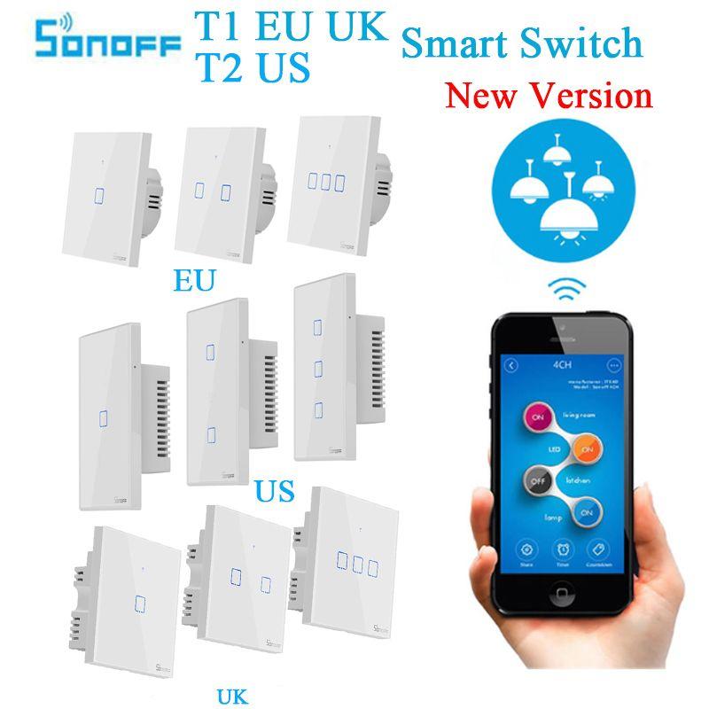 Sonoff T1 EU UK T2 US Wifi applique murale interrupteur tactile 1 2 3 gang Smart Home sans fil 433/RF/APP interrupteur intelligent fonctionne avec Alexa Google