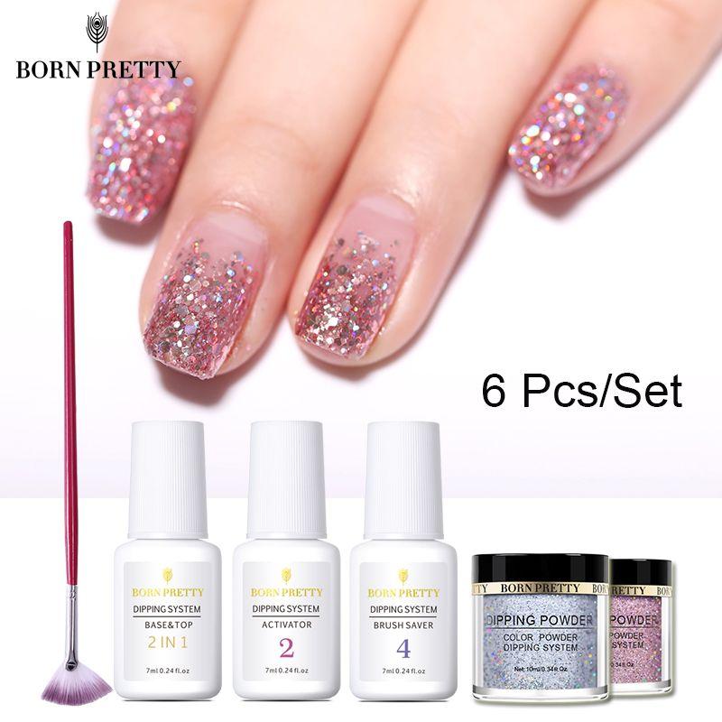 BORN PRETTY 6 pièces trempage ongles poudre ensemble holographique rose Dip ongles paillettes poudre Pigment Nail Art décoration