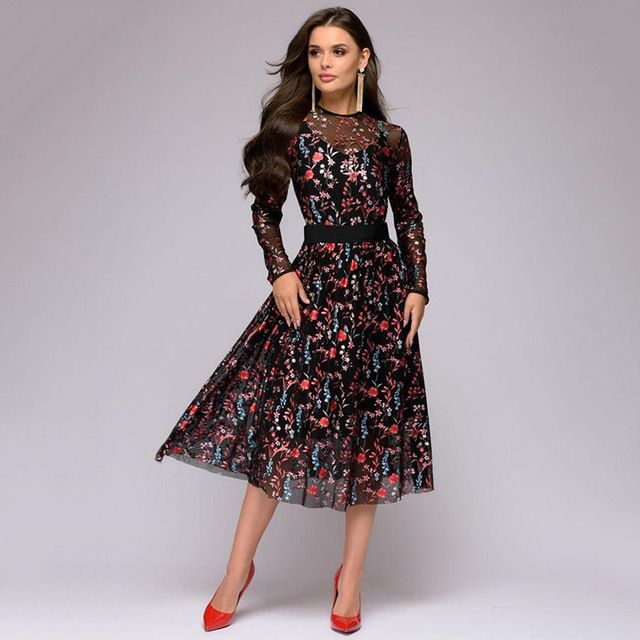 2019 Explosive Digital Printed Long Sleeve Thin Dresses