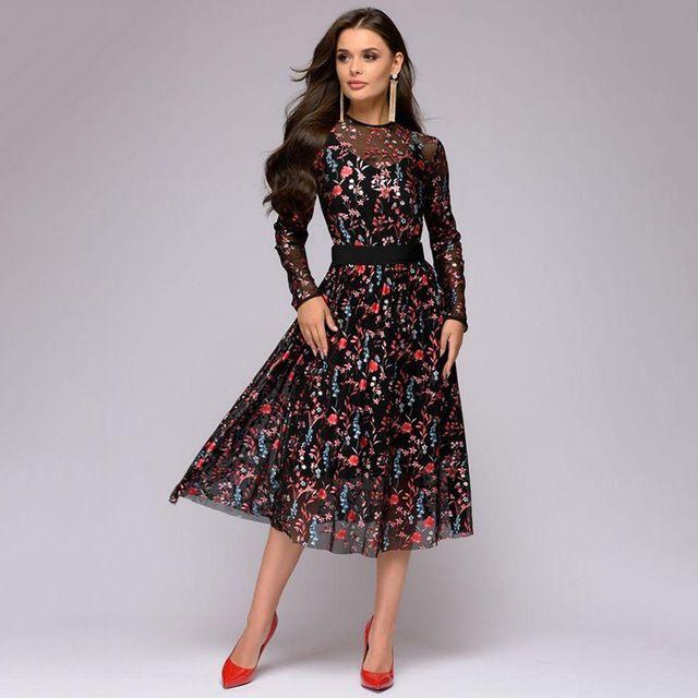 2019 Explosive Digital Printed Long Sleeve Thin Dresses