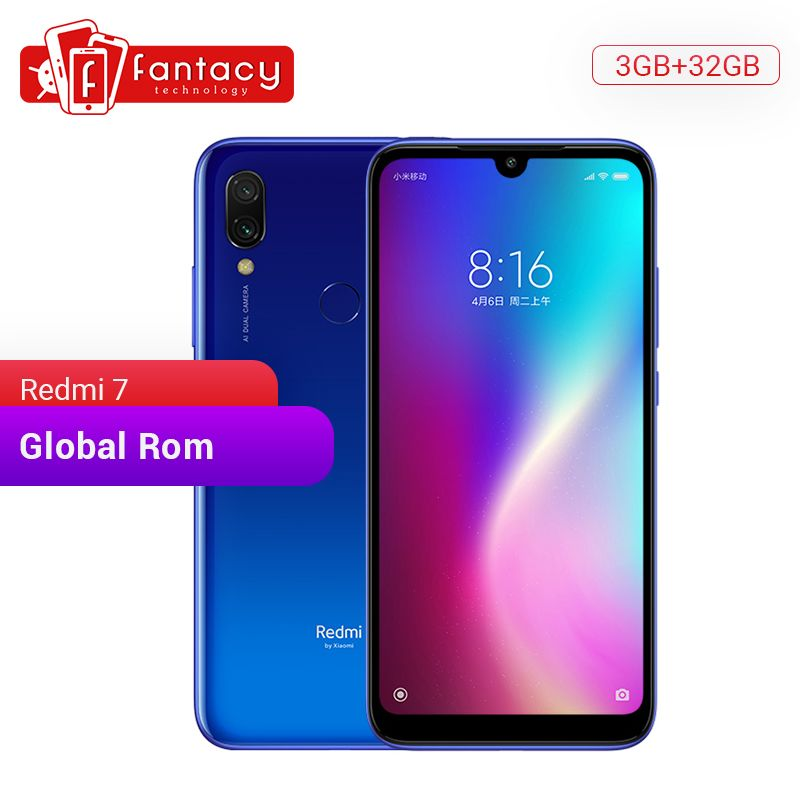 Global Rom Xiaomi Redmi 7 3GB RAM 32GB ROM Snapdragon 632 Octa Core 12MP Dual Camera 6.26 HD Mobile Phone 4000mAh Large Battery