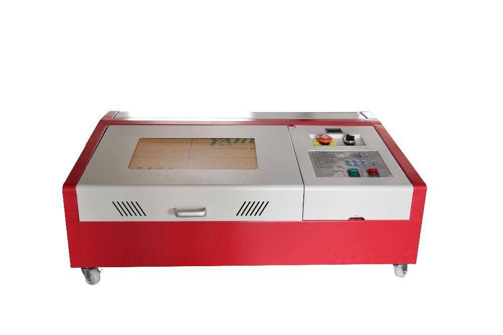 Neue 40W CO2 USB 300x200mm laser gravur messer holz handwerk + 4 runden