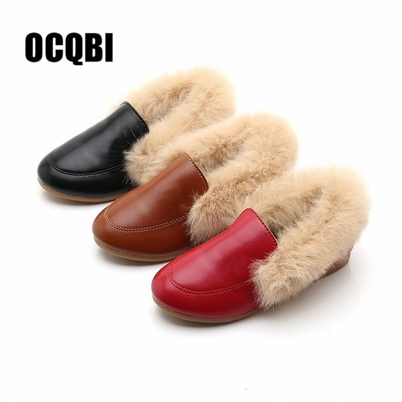 Kids Shoes Winter Warm Boys Girls Fashion Shoe Black Red Fur Flat Slip On Non-slip Kids Shoes Quality Leather New Hot Shoes