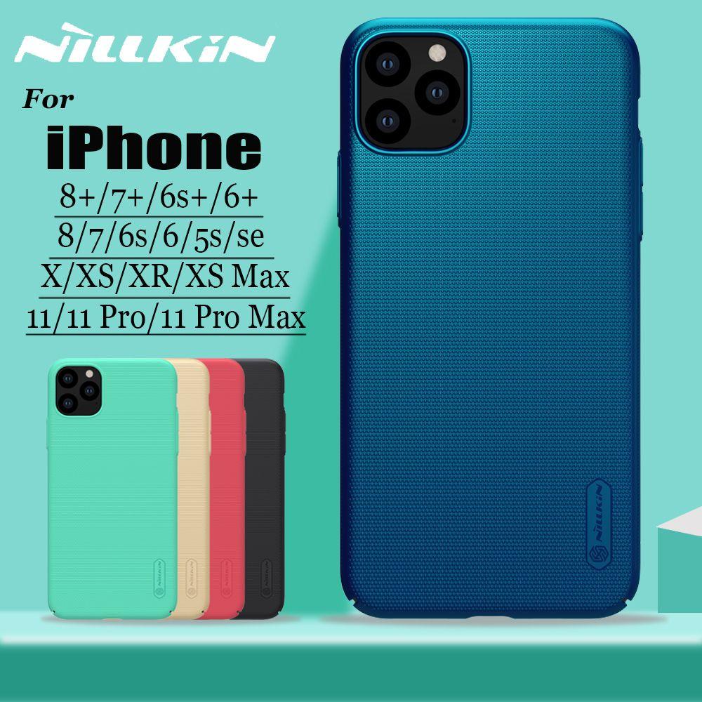 Pour iPhone 11 Pro Max X Xr Xs 8 7 housse de protection Nillkin écran givré dur PC étui pour iPhone 8 7 6S 6plus 5S SE coque