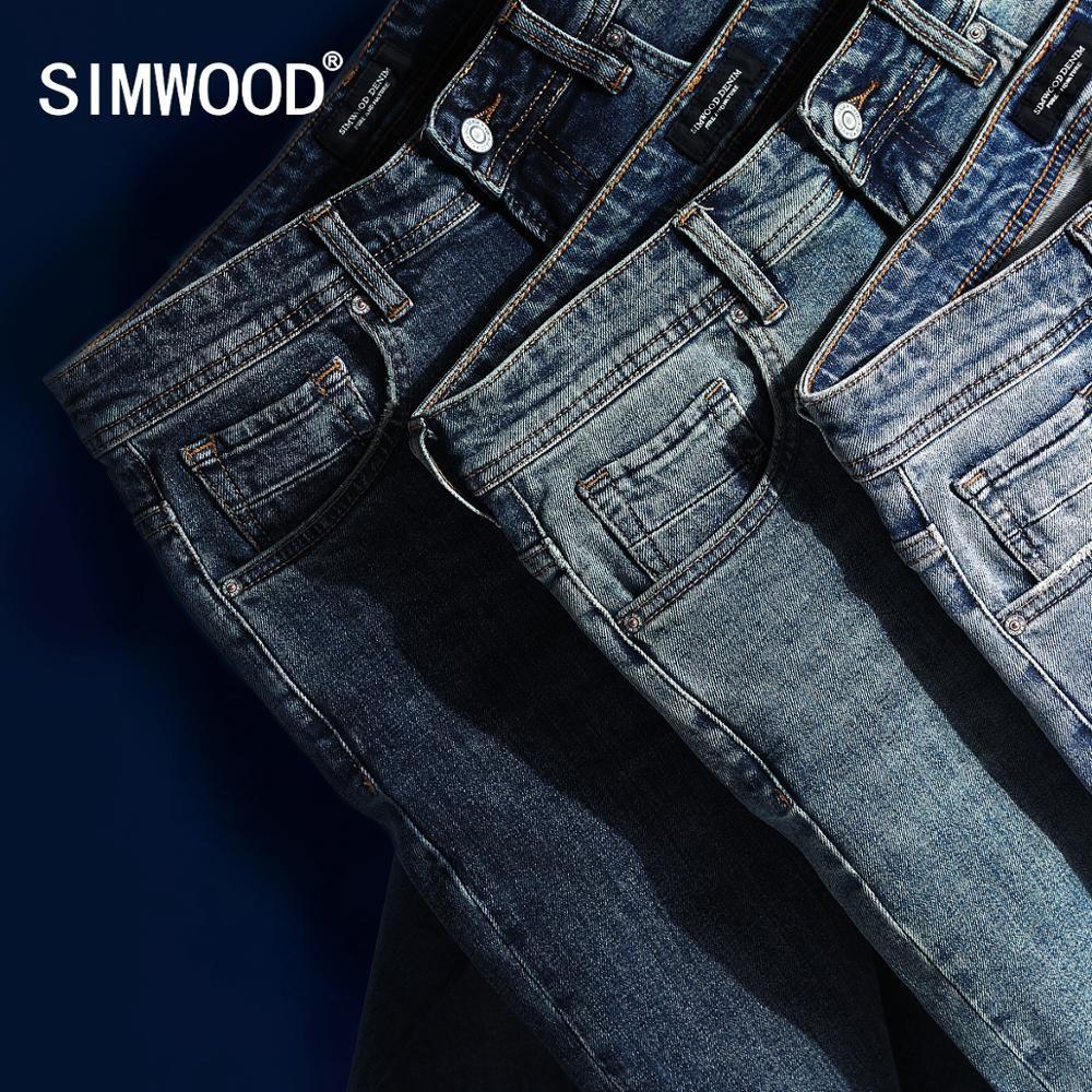 SIMWOOD 2019 nouveau Jean hommes classique Jean haute qualité jambe droite mâle pantalons décontractés grande taille coton Denim pantalon 180348