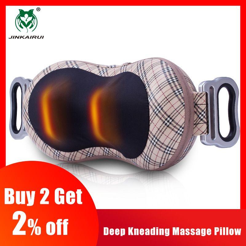 JinKaiRui Shiatsu pétrissage profond Massage oreiller châle infrarouge chaleur masseur Relaxation soulager cou épaule douleur au dos