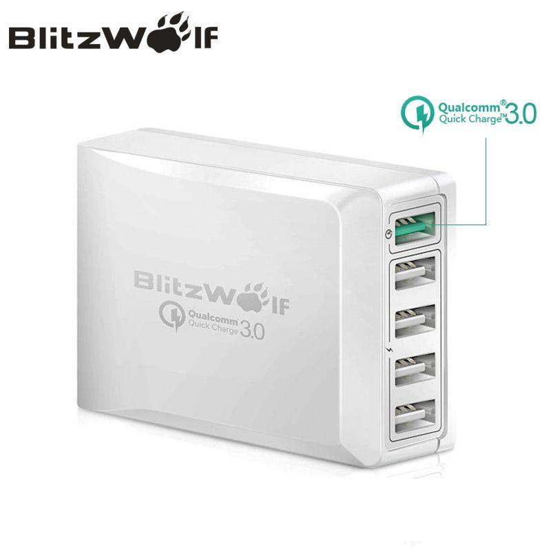 BlitzWolf BW-S7 Charge rapide QC3.0 adaptateur USB chargeur intelligent 5 ports chargeur de bureau téléphone portable chargeur de voyage pour Smartphone