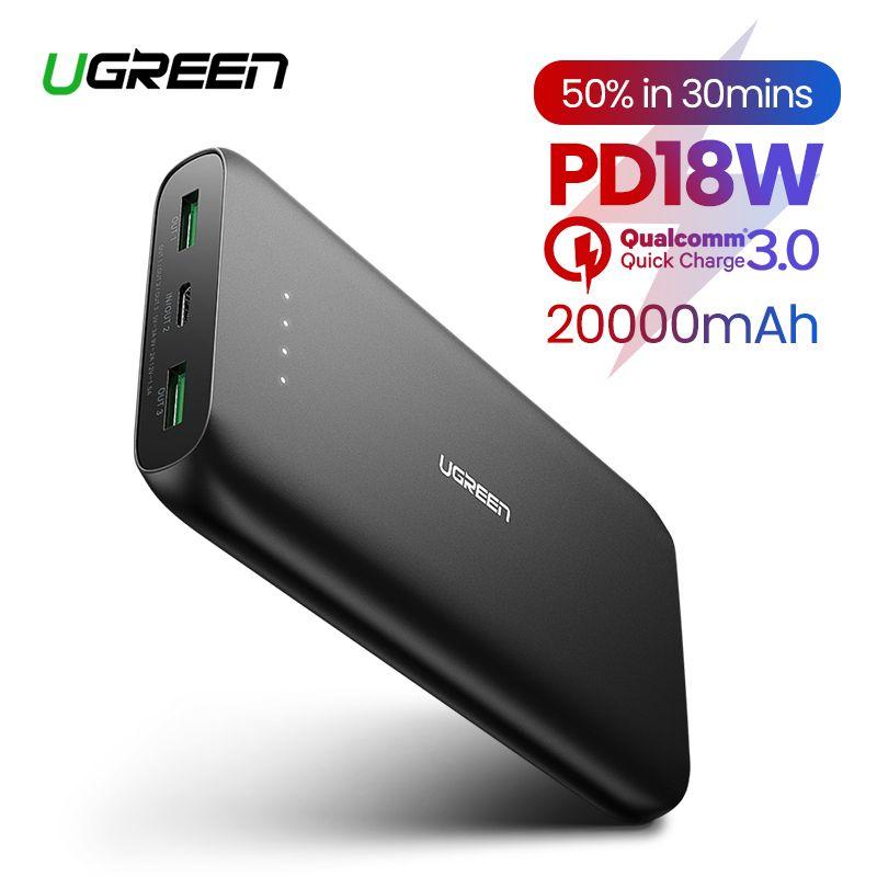 Ugreen batterie externe 20000mAh chargeur de téléphone rapide Charge rapide 4.0 QC3.0 batterie externe Portable pour iPhone 11 XiaoMi PD Powerbank