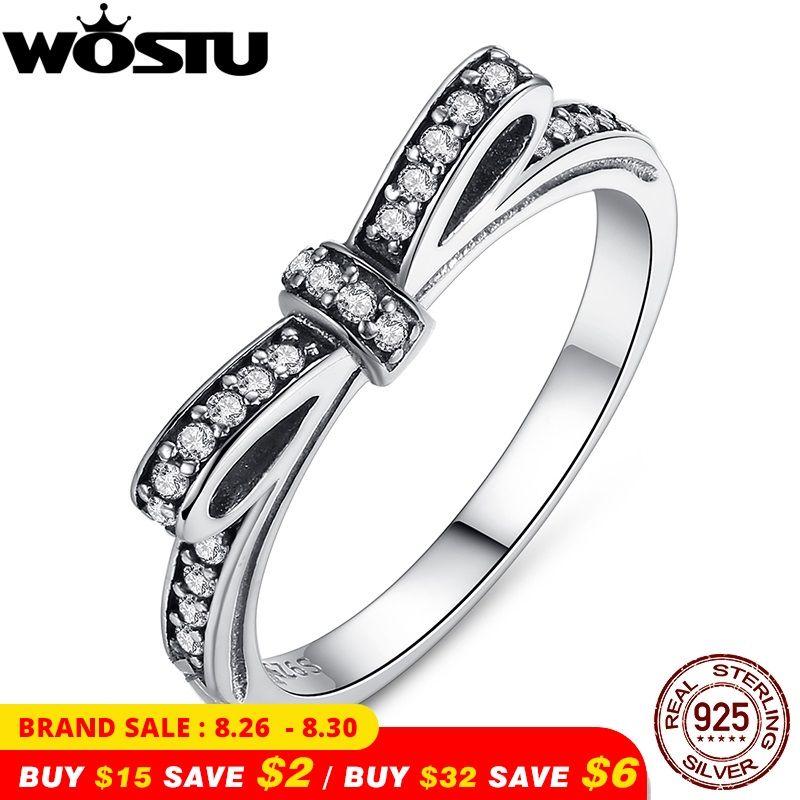 Mode européenne authentique 100% 925 argent Sterling noeud noeud bague de mariage avec cristal bijoux originaux XCH7104