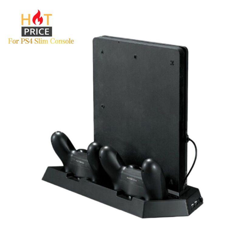 Console de jeu support pour PS4 Console mince Console de jeu verticale support Dock avec double Station de charge pour Playstation 4