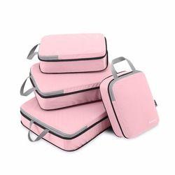 Gonex 4 unids/set maleta de viaje organizador de equipaje colgante bolsa de almacenamiento con cierre zip ropa de compresión cubos de embalaje regalo de la amiga de la muchacha