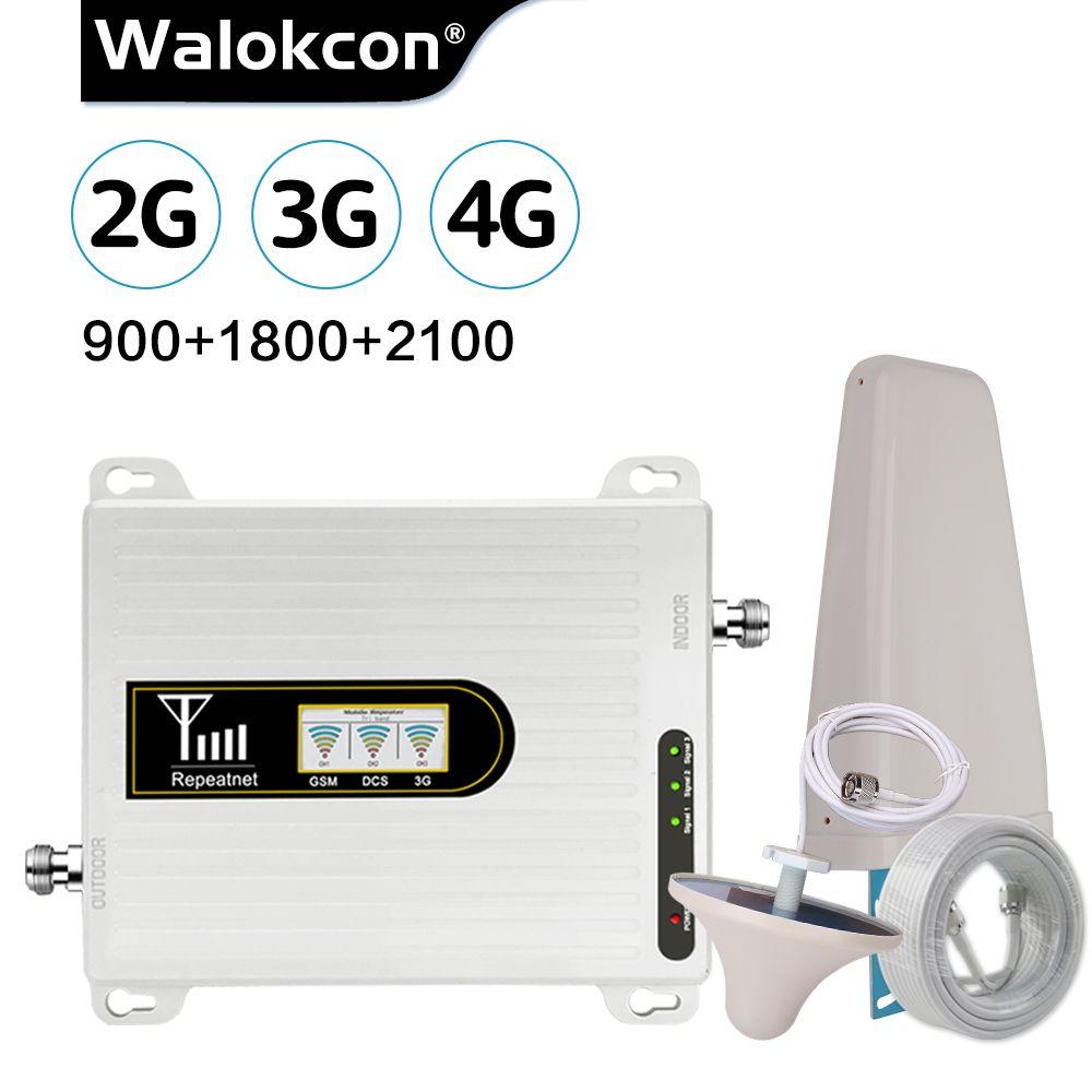Walokcon Tri Band Verstärker 900 1800 2100 GSM DCS WCDMA 2G 3G 4G LTE Signal Booster 900 /1800/2100 handy Cellular Repeater @ 1