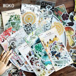 WOKO 60PCS/Pack Vintage Bronzing Skull Flowers Plants Cactus Diagram Fairy Tale Tropical Vibes Sticker DIY Scrapbooking Escolar