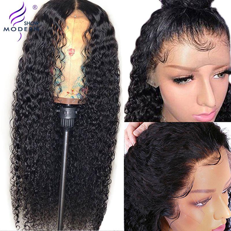 8-26 pouces moderne spectacle cheveux 13*4 brésilien bouclés dentelle avant perruque de cheveux humains pré plumé 150% densité perruque de dentelle pour les femmes noires Remy