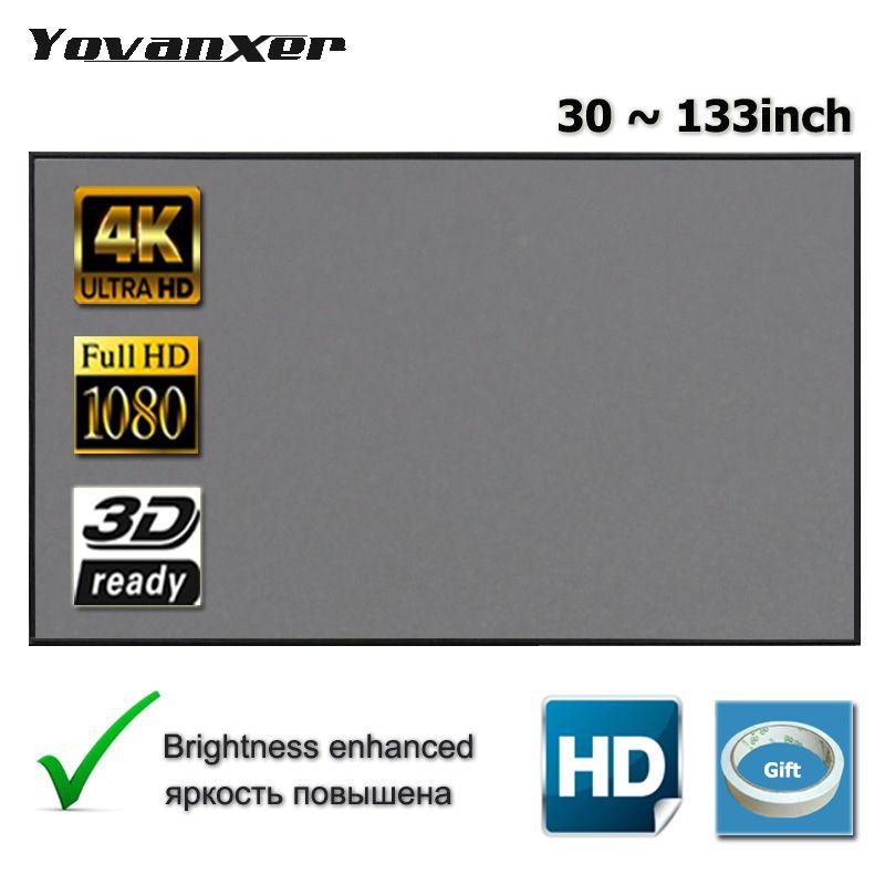 Yovanxer écran de Projection 72 84 100 120 130 133 pouces tissu réfléchissant pour XGIMI Xiaomi JMGO AUN projecteur améliorer la luminosité