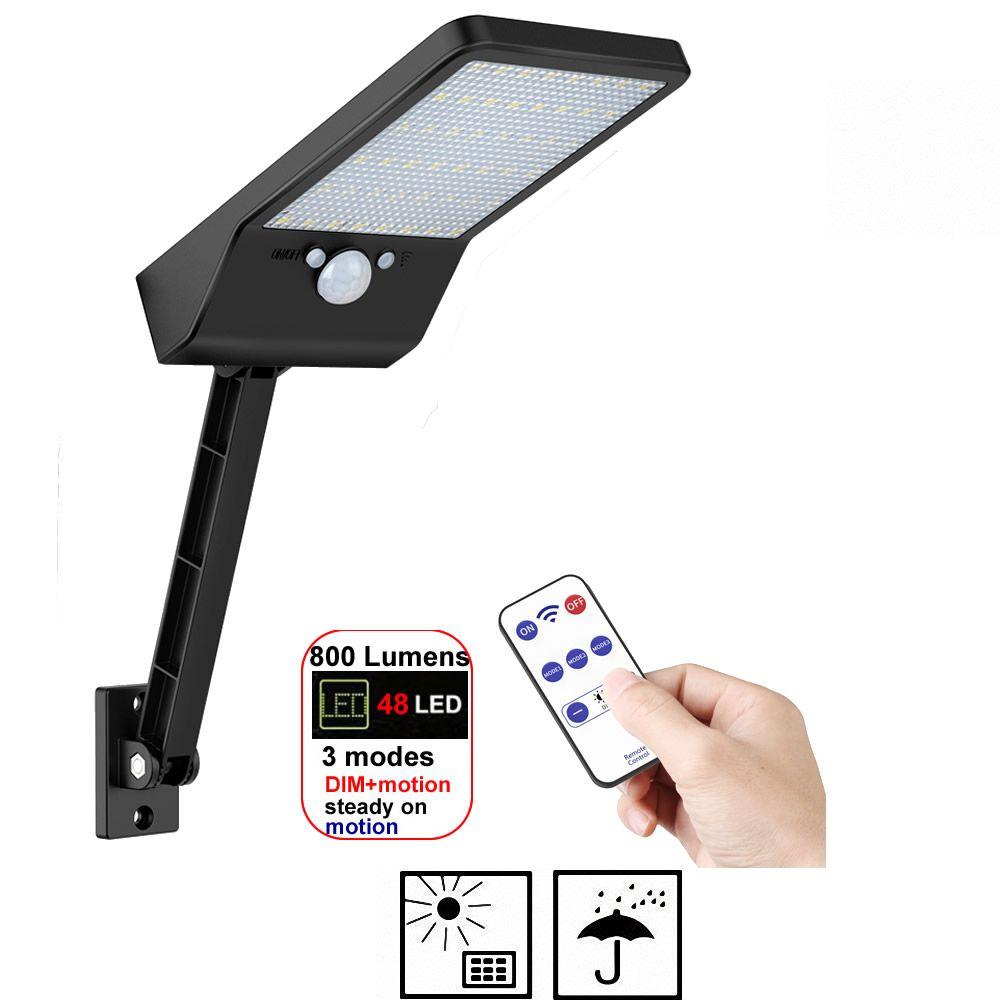 48 LED 800 LM lampadaire solaire alimenté mur lumière capteur de mouvement extérieur jardin sécurité livraison directe rotable support à distance