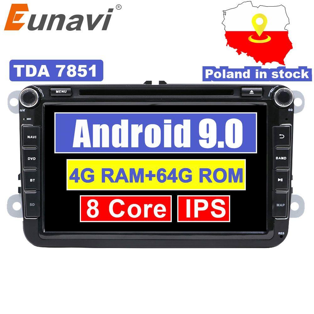 Autoradio Eunavi 8 ''2 din Android 9 pour VW Volkswagen Polo Jetta passat b6 b7 cc fabia skoda Touran golf 6 Tiguan GPS Navi