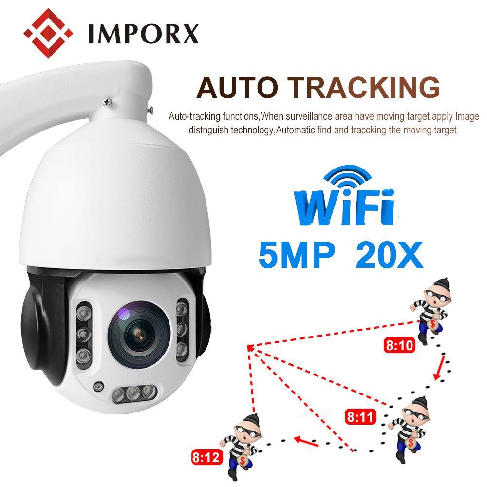 IMPORX Neue 5MP Drahtlose Auto Tracking PTZ IP Kamera 20X Zoom IR120M WIFI High Speed Dome Kamera P2P Onvif H.265 hause CCTV Kamera