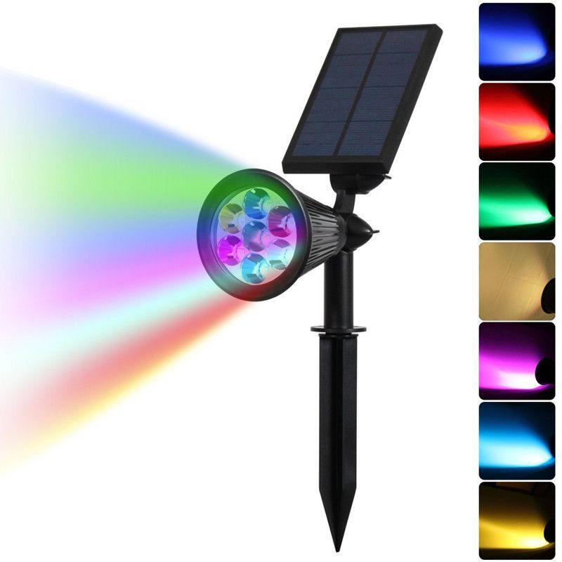 DCOO 7LED solaire projecteurs Auto changement 7 couleurs solaire alimenté lampe étanche paysage projecteur pour cour jardin Patio pelouse