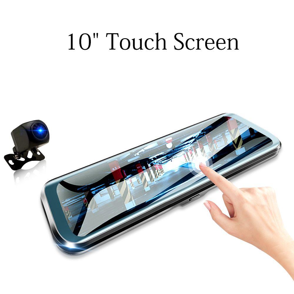 HGDO 10 pouces voiture DVR rétroviseur Dash cam Full HD écran tactile voiture caméra 1080P dvrs double lentille enregistreur vidéo autoregister