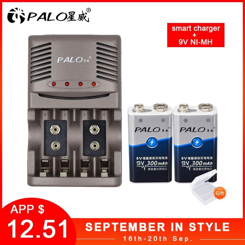 PALO Chargeur Intelligent Pour AA AAA Piles Rechargeables Pour NI-MH 9V 6F22 Batterie + 2 pièces 9V 300mah batteria Batterie Pour Caméra