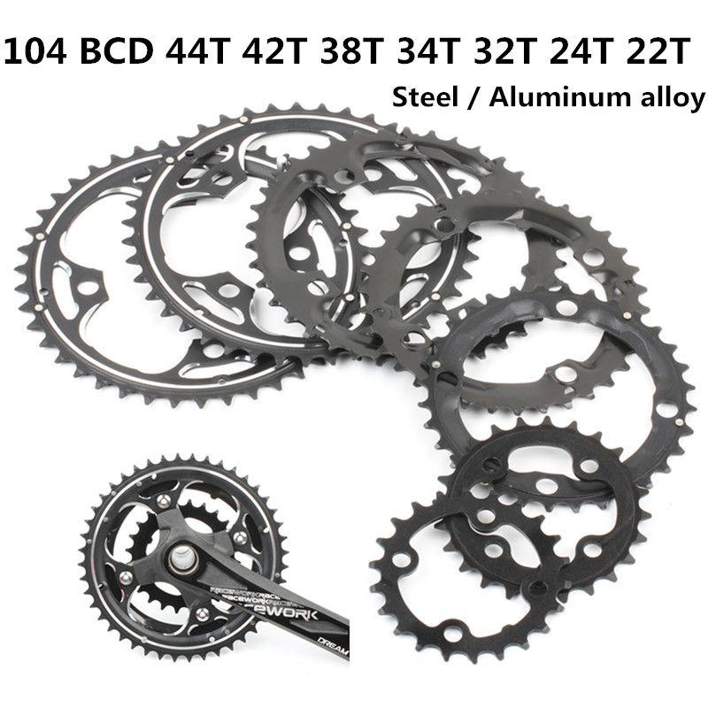 Plateau rond vtt VTT vélo 104BCD 22T 24T 32T 34T 38T 42T 44T pédalier en acier alliage d'aluminium pièces de plaque dentaire