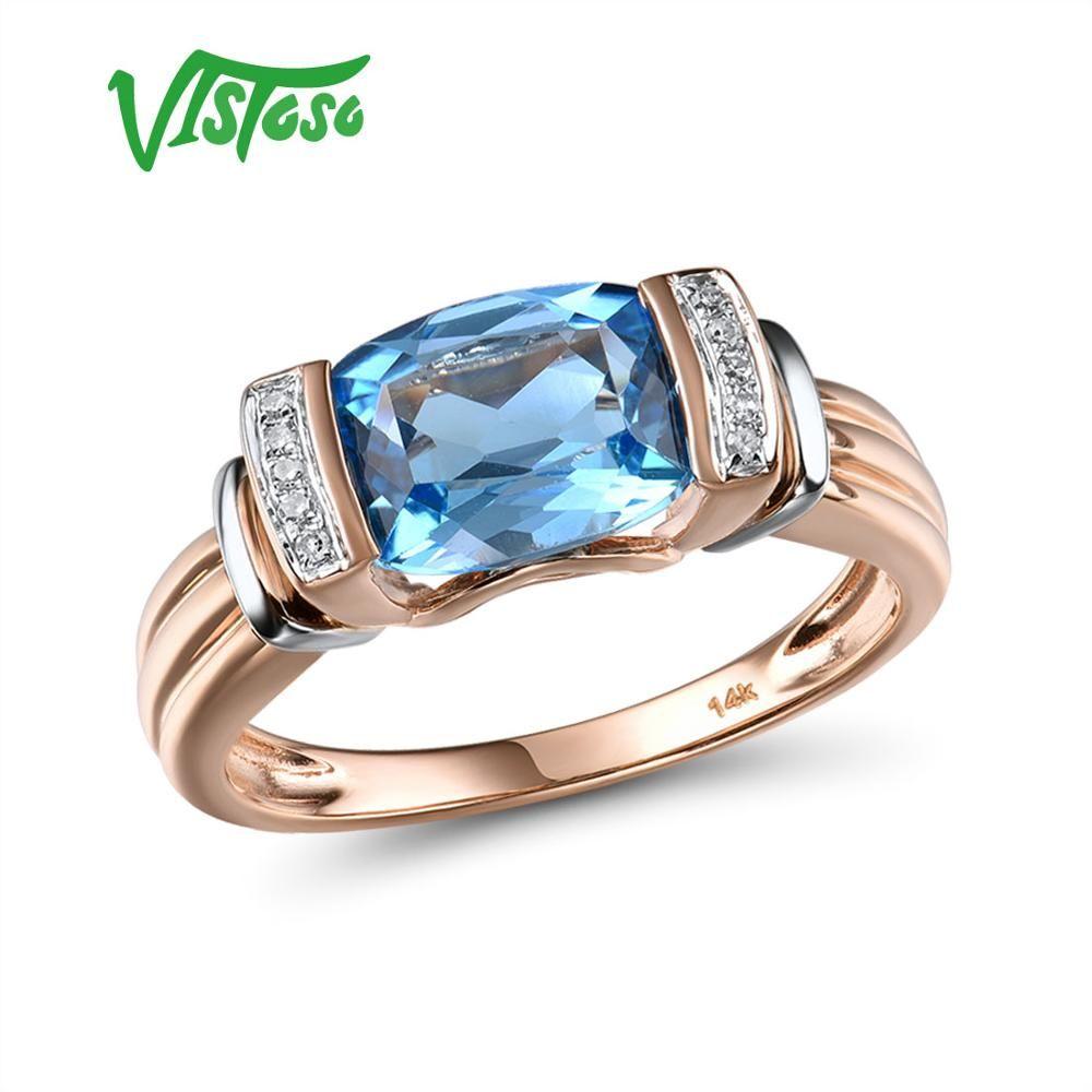 VISTOSO Gold Ringe Für Frauen Echte 14K 585 Zwei Ton Gold Ringe Funkelnden Diamant Blau Topas Hochzeit Jahrestag Feine schmuck