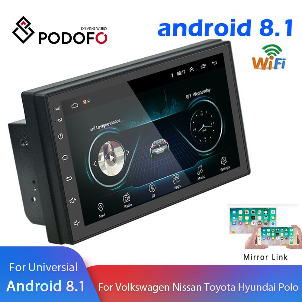 Podofo Android 2 Din Car radio Multimedia Video Player GPS Navigation 2 din 7
