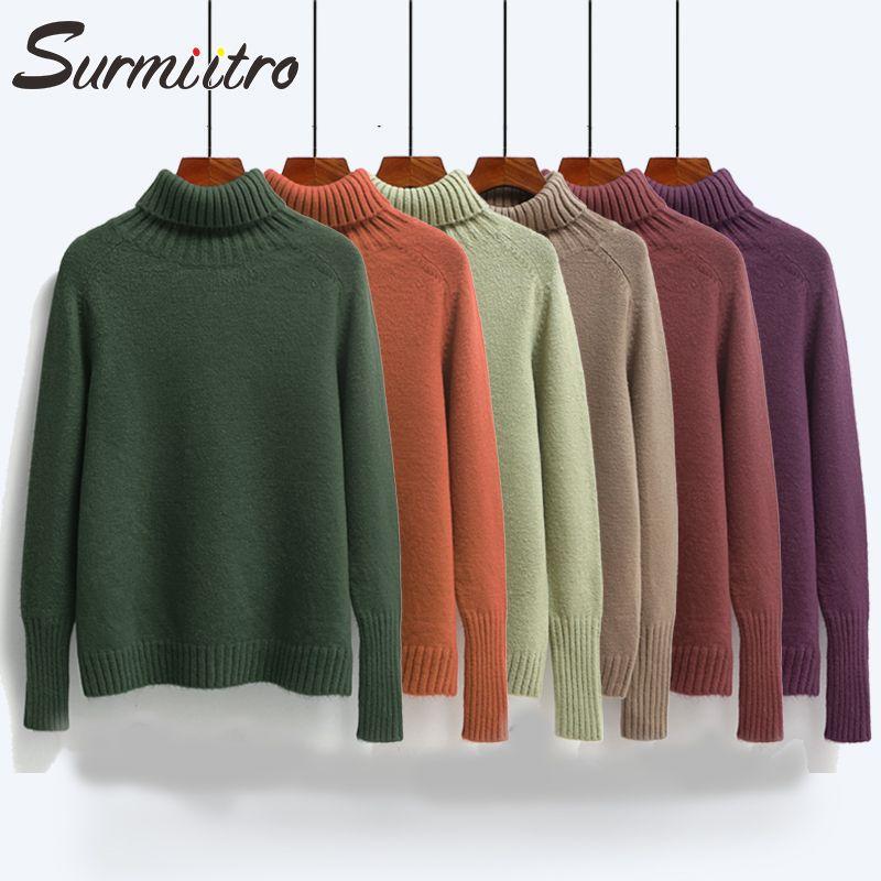 Surmiitro automne hiver pull femmes col roulé 2019 à manches longues Tricot chandails et pulls femme tricoté pull en cachemire