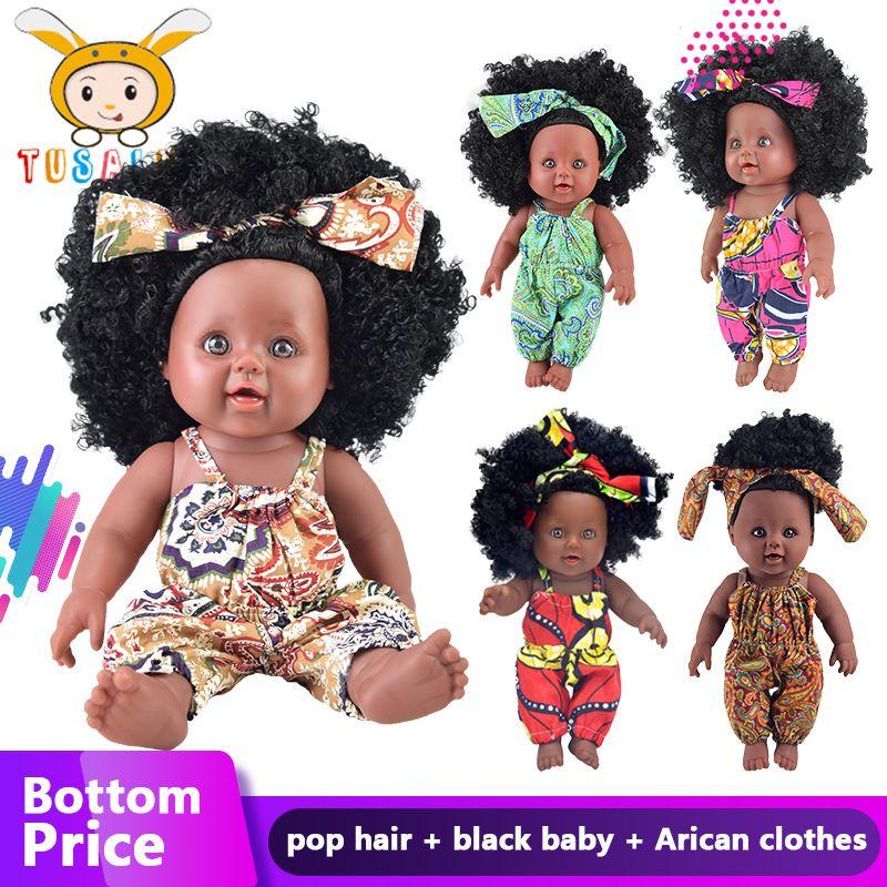 American reborn black doll bebek silicone cheveux vinyle bébé nouveau-né raiponce boneca sécurité yeux bébé peluche fille cadeau lol fête