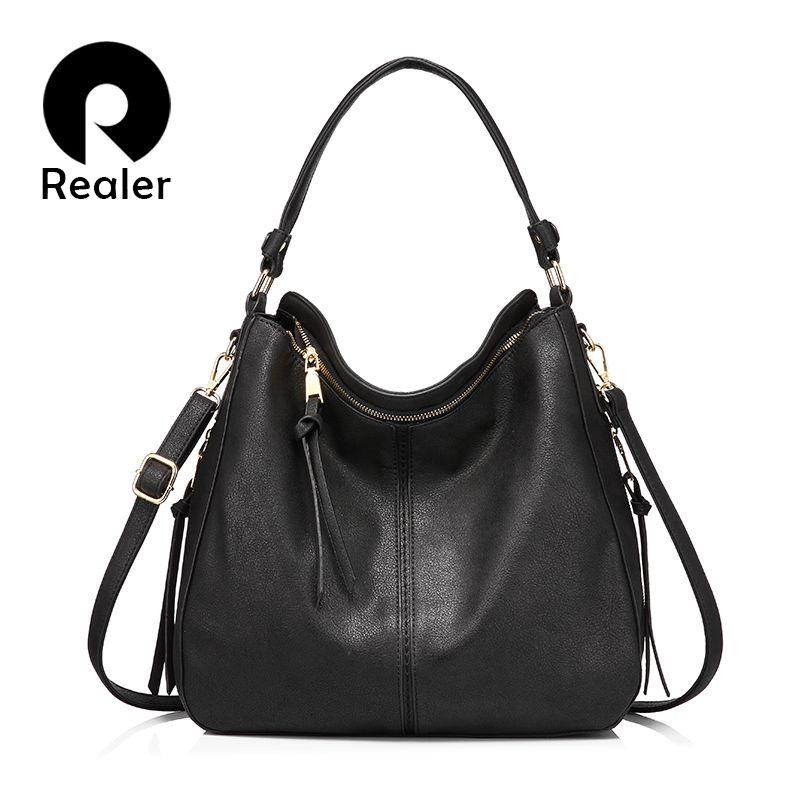 REALER sacs à main femmes épaule sac à bandoulière femme décontracté grand fourre-tout en cuir artificiel de haute qualité dames hobo messenger sac
