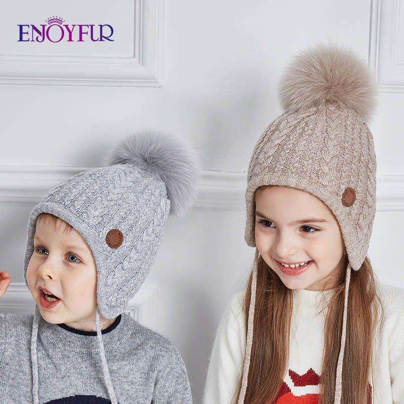 ENJOYFUR Ages 2-8 baby hat Children Winter Hats For Girls&Boy Cotton Thick Warm Knitted Ears Beanie Fox Fur Pompom Cap