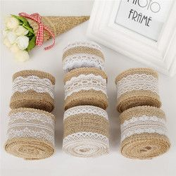 5cm 2m/roll Natural Jute Burlap Hessian Ribbon with Cotton Lace DIY Trim Fabric For Sewing Wedding Decoration Accessories