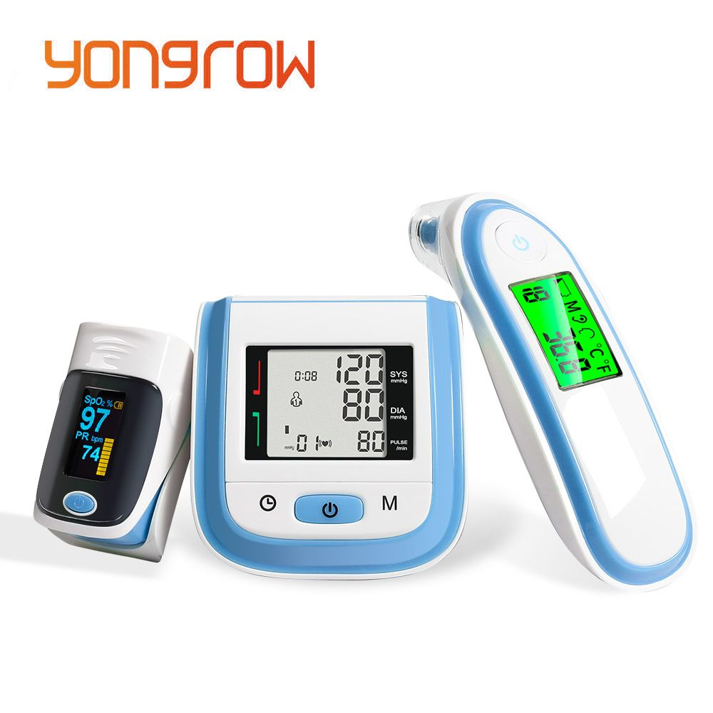 Yongrow Digital Fingertip Pulse Oximeter SpO2 Wrist Blood Pressure Monitor Ear Infrared Thermometer Family Health Care Oxygen PR