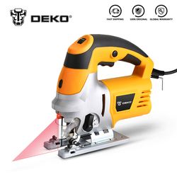 DEKO Laser Jig Saw, Variable Speed Includes 6pcs Blades, Metal Ruler, Dust Pipe, Allen Wrench Electric Saw Tools