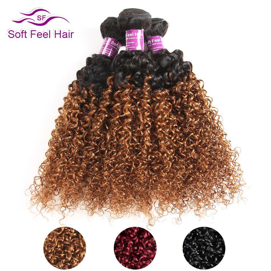 Toucher doux Cheveux 1/3/4 pièces Ombre Brésilien Crépus Bouclés Cheveux Faisceaux Armure de Cheveux Humains Extensions 1B /30 brun Remy Ombre Cheveux Bundles