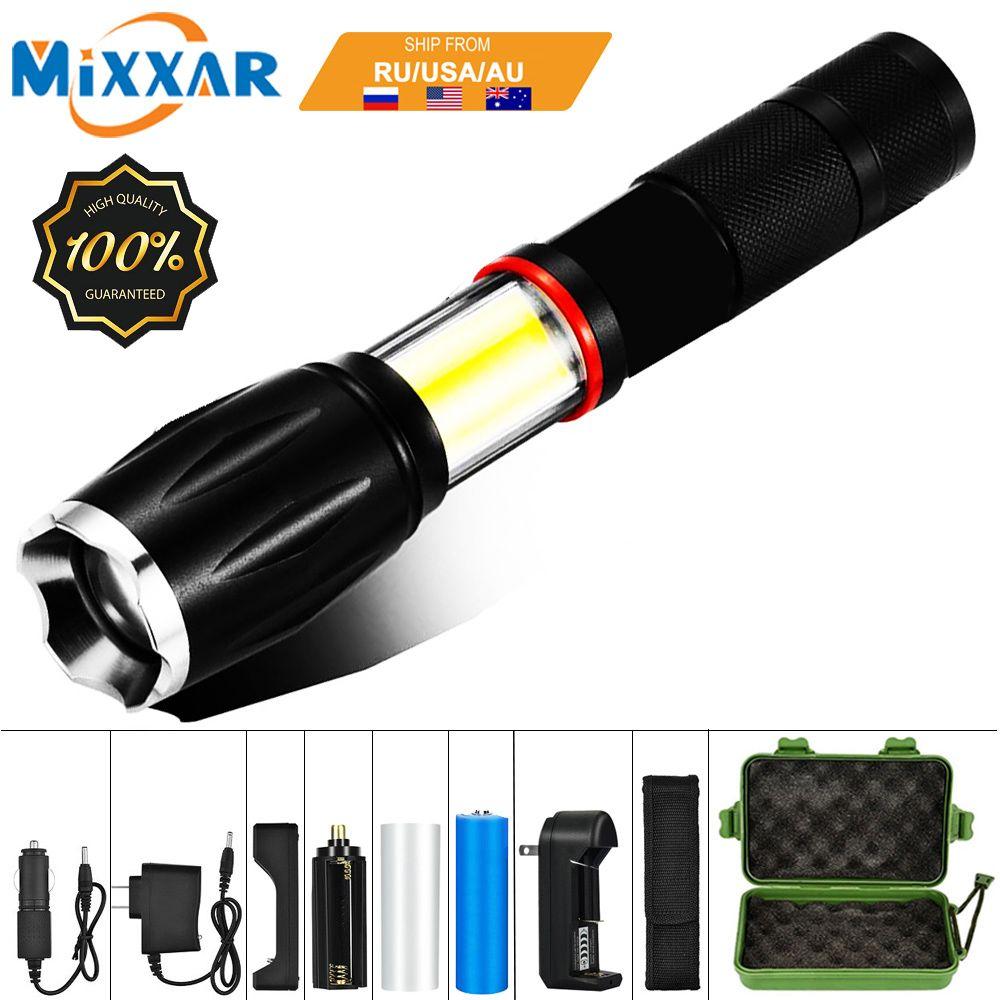 EZK20 livraison directe LED 8000 Lumens poche tactique lampe de poche 18650 COB lanterne magnétique 6 Modes résistant à l'eau pour l'urgence