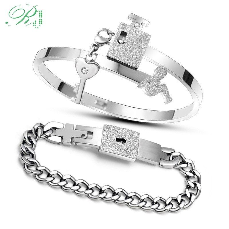 RJ livraison directe un ensemble Couple amoureux bijoux en acier inoxydable givré amour coeur serrure Bracelets Bracelets clé pendentif collier cadeau