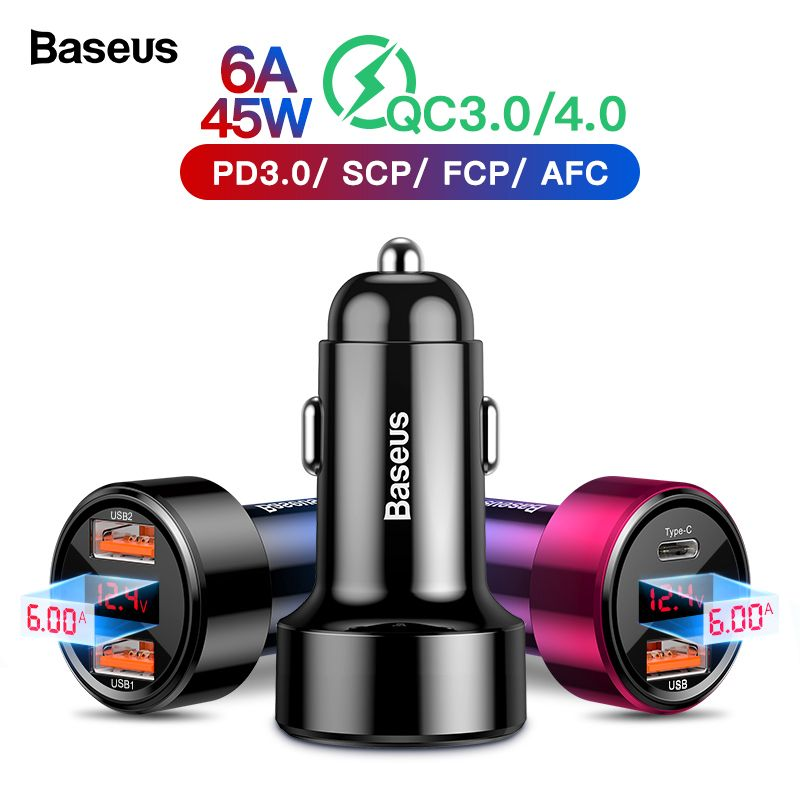 Baseus Quick Charge 4.0 3.0 USB Car Charger For iPhone 11 Pro Max Xiaomi Mi Sumsung QC4.0 QC3.0 QC Type C PD Fast Car Charging